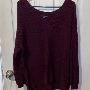 Lace up sleeve sweater